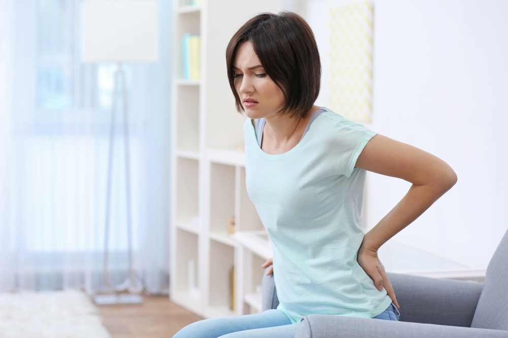 woman suffering from a herniated disc